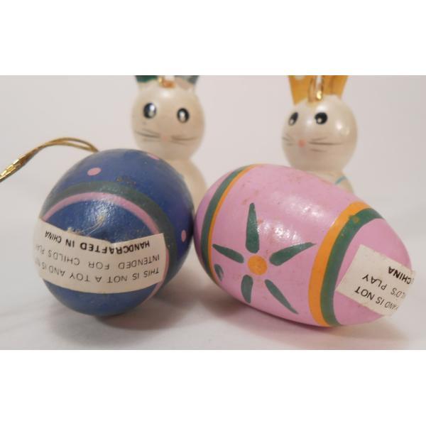 ヴィンテージ・イースター木製オーナメント・青とピンクのエッグとお耳が緑と黄色のうさぎさんたち・4個セット【画像2】
