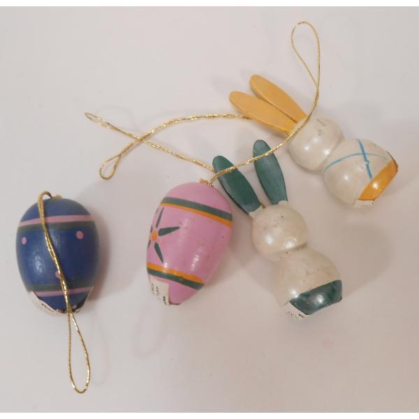 ヴィンテージ・イースター木製オーナメント・青とピンクのエッグとお耳が緑と黄色のうさぎさんたち・4個セット【画像7】