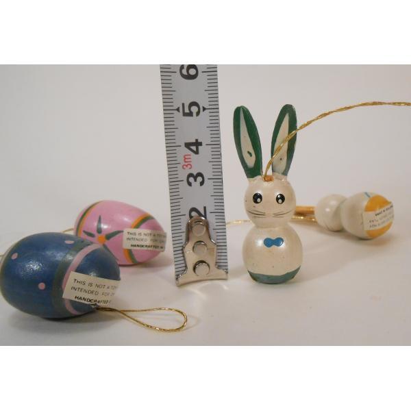 ヴィンテージ・イースター木製オーナメント・青とピンクのエッグとお耳が緑と黄色のうさぎさんたち・4個セット【画像8】