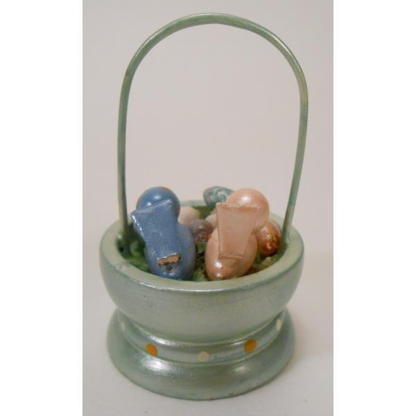 ヴィンテージ・イースター木製オーナメント・緑のかごにはいった小鳥ちゃん2羽とたまご【画像5】