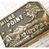 ベルトバックル ヴィンテージ・真鍮製・アメリカ・ベルトバックル・Milne Point・犬ぞり