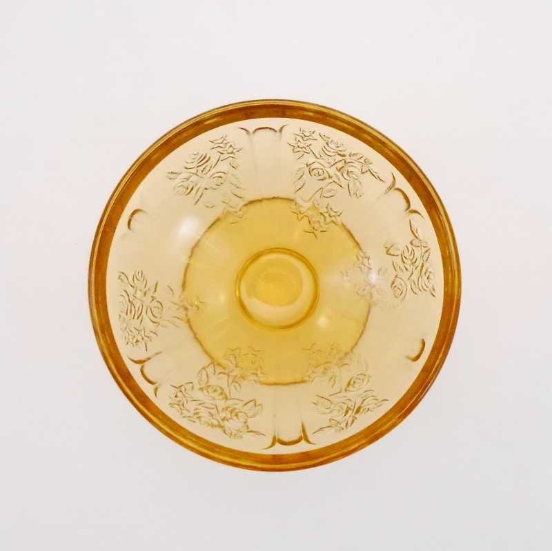 フェデラルグラス・ディプレッショングラス・シャロン・アンバーイエロー・ローズ・シャーベットカップ・1935年〜1939年【画像4】
