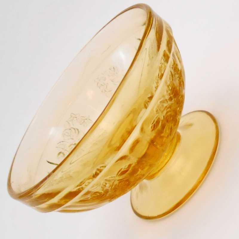 フェデラルグラス・ディプレッショングラス・シャロン・アンバーイエロー・ローズ・シャーベットカップ・1935年〜1939年・訳あり