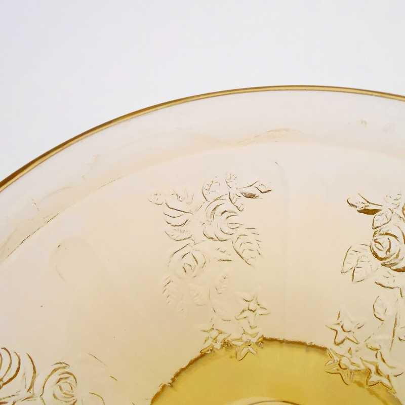 フェデラルグラス・ディプレッショングラス・シャロン・アンバーイエロー・ローズ・シャーベットカップ・1935年〜1939年・訳あり【画像6】