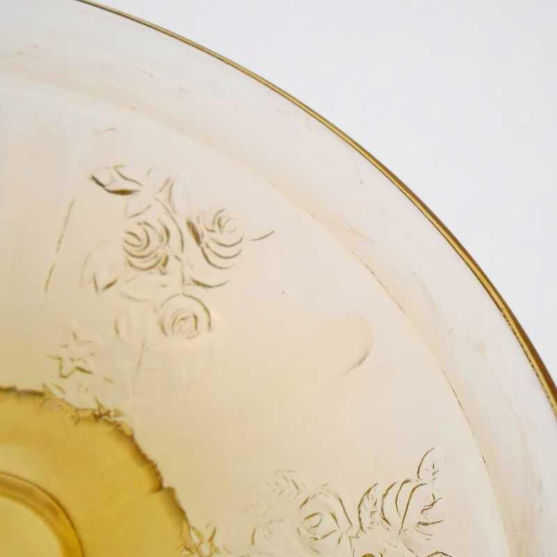 フェデラルグラス・ディプレッショングラス・シャロン・アンバーイエロー・ローズ・シャーベットカップ・1935年〜1939年・訳あり【画像8】