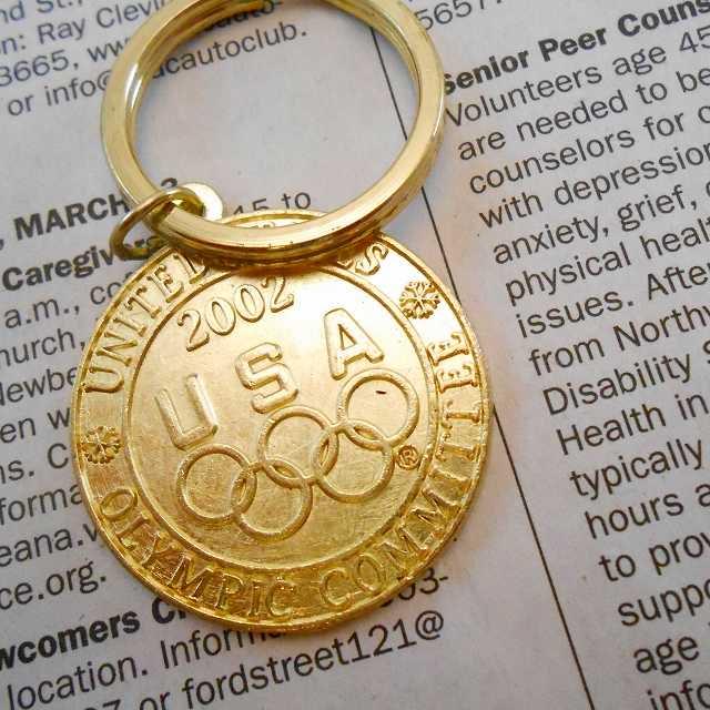 ヴィンテージキーホルダー・2002年USAオリンピック・金メダル・メタル製
