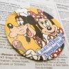キャラクター ヴィンテージ缶バッチ・ディズニー・ミッキーの仲間・1996年キャラクターダイニング・グーフィー&ミニー