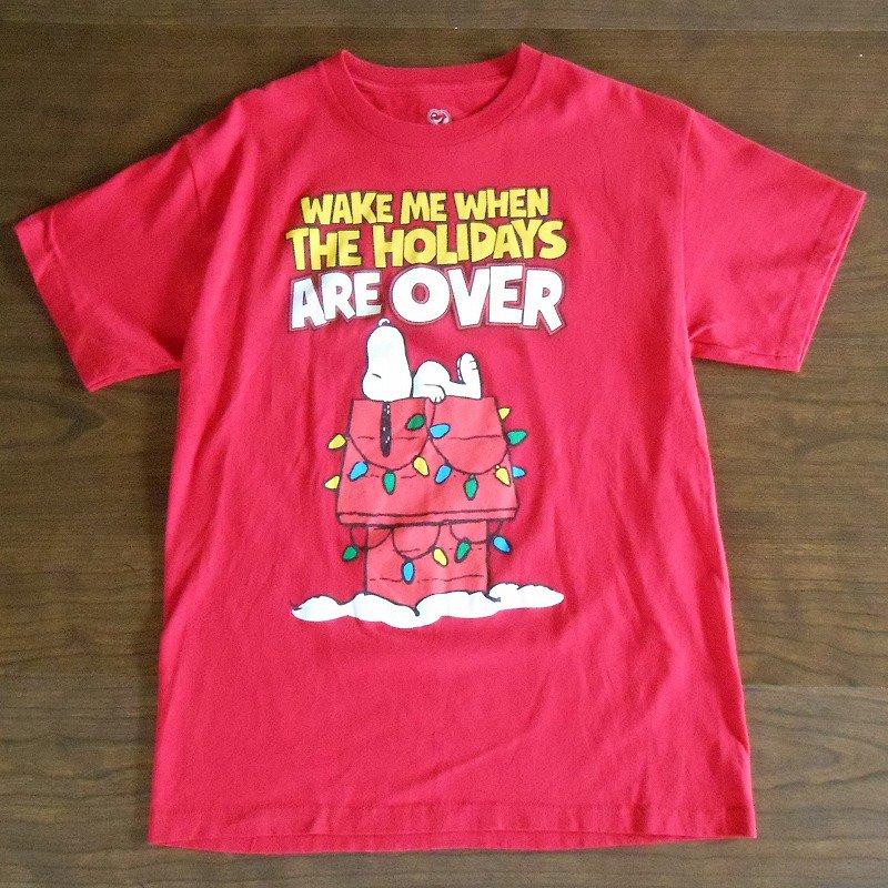 ユーズド・スヌーピー・クリスマスTシャツ・Wake me when...・レディス・サイズM【画像2】
