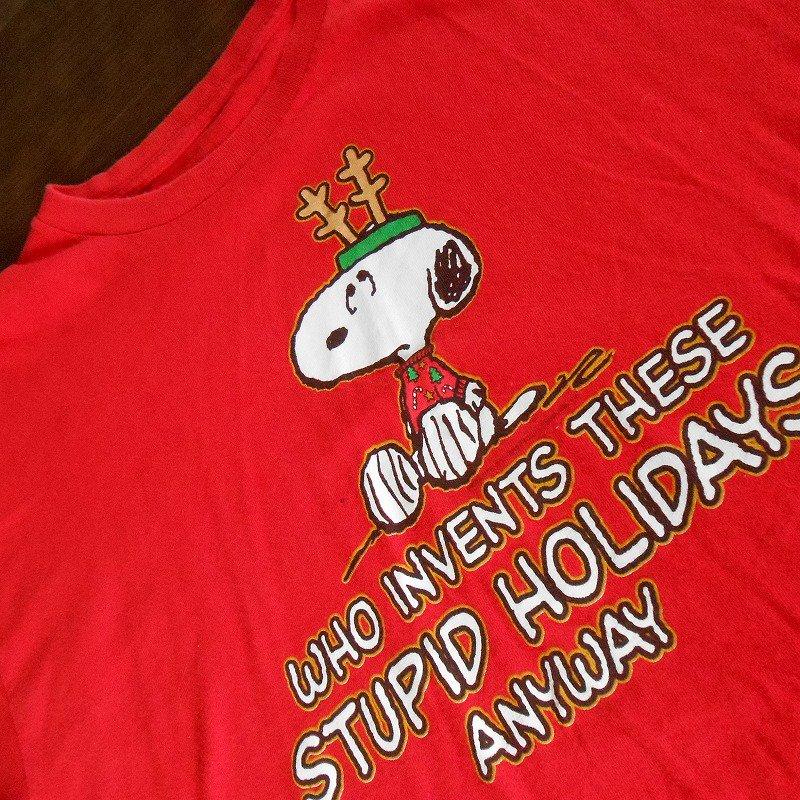ユーズド・スヌーピー・クリスマスTシャツ・Who invents...・レディスL
