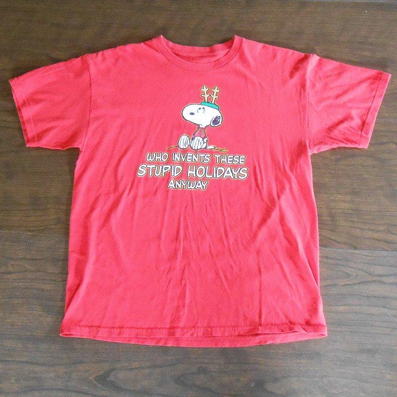 ユーズド・スヌーピー・クリスマスTシャツ・Who invents...・レディスL【画像2】