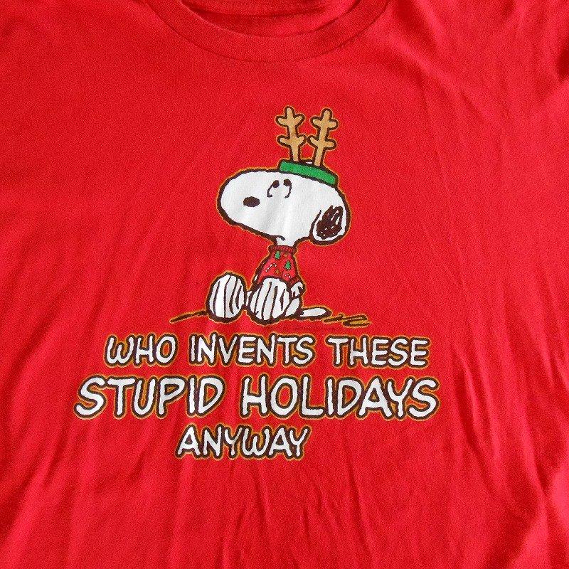 ユーズド・スヌーピー・クリスマスTシャツ・Who invents...・レディスL【画像3】
