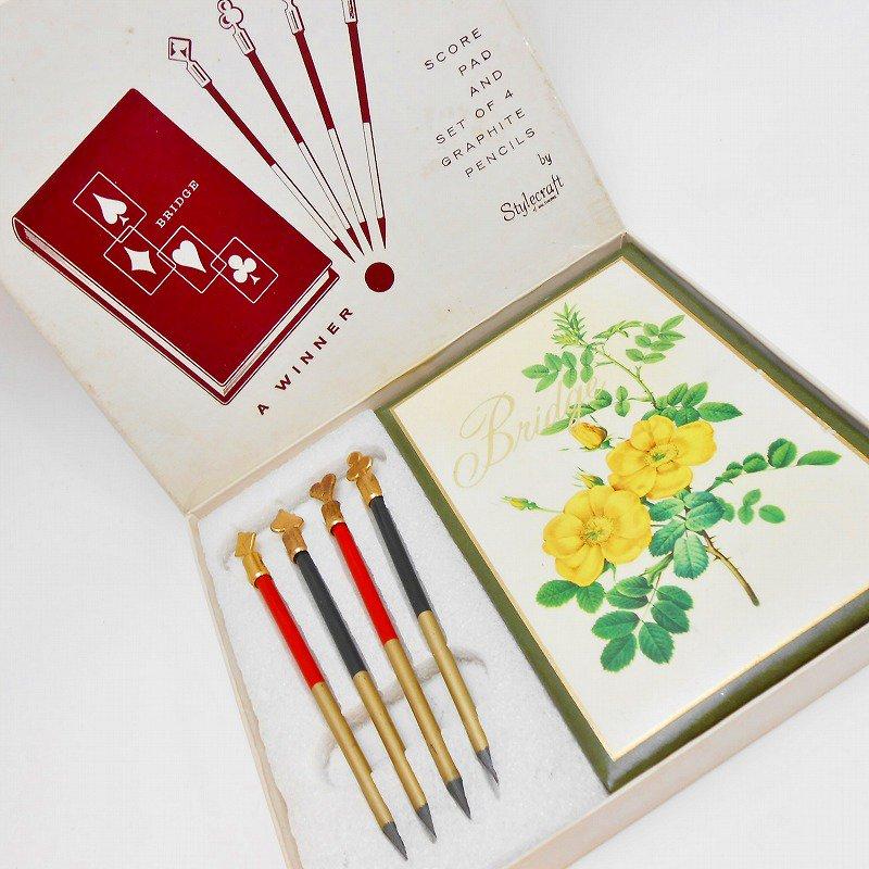 ヴィンテージ文房具・鉛筆4本・ブリッジメモ・メモケース・ボックス入りセット