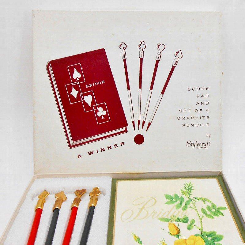 ヴィンテージ文房具・鉛筆4本・ブリッジメモ・メモケース・ボックス入りセット【画像2】