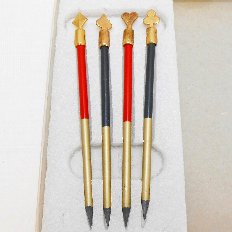 ヴィンテージ文房具・鉛筆4本・ブリッジメモ・メモケース・ボックス入りセット【画像12】