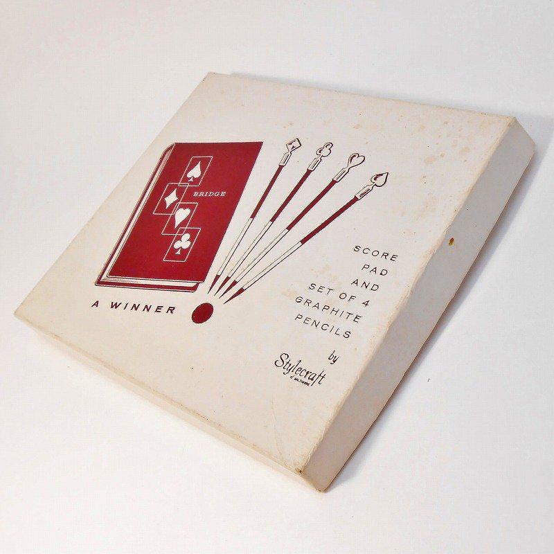 ヴィンテージ文房具・鉛筆4本・ブリッジメモ・メモケース・ボックス入りセット【画像20】