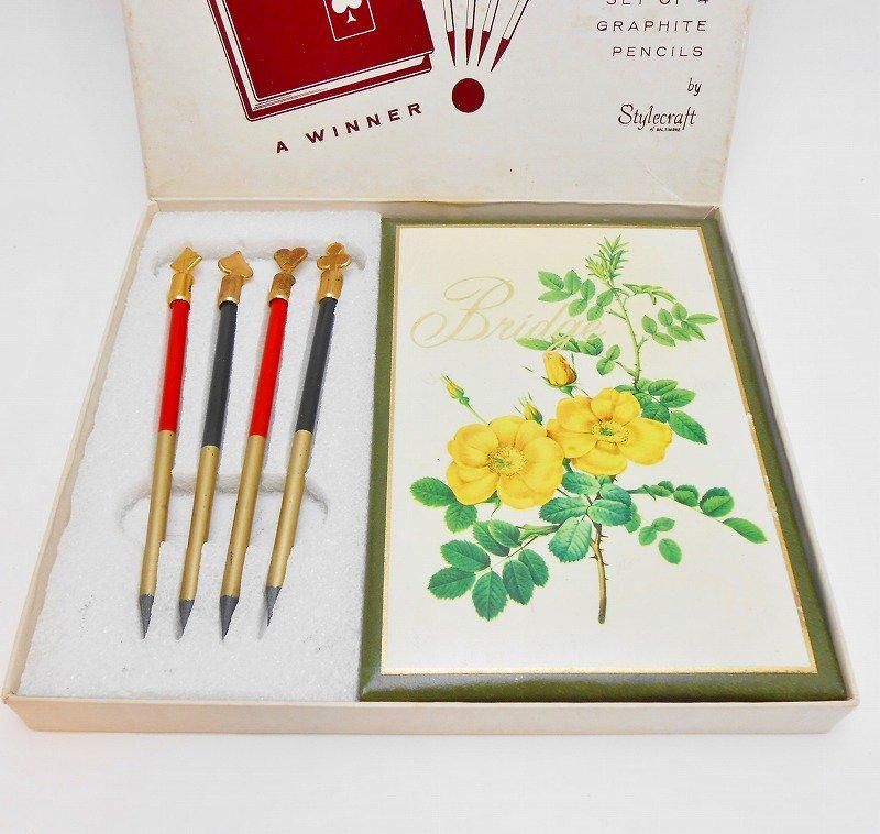 ヴィンテージ文房具・鉛筆4本・ブリッジメモ・メモケース・ボックス入りセット【画像3】