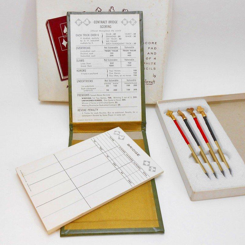ヴィンテージ文房具・鉛筆4本・ブリッジメモ・メモケース・ボックス入りセット【画像4】