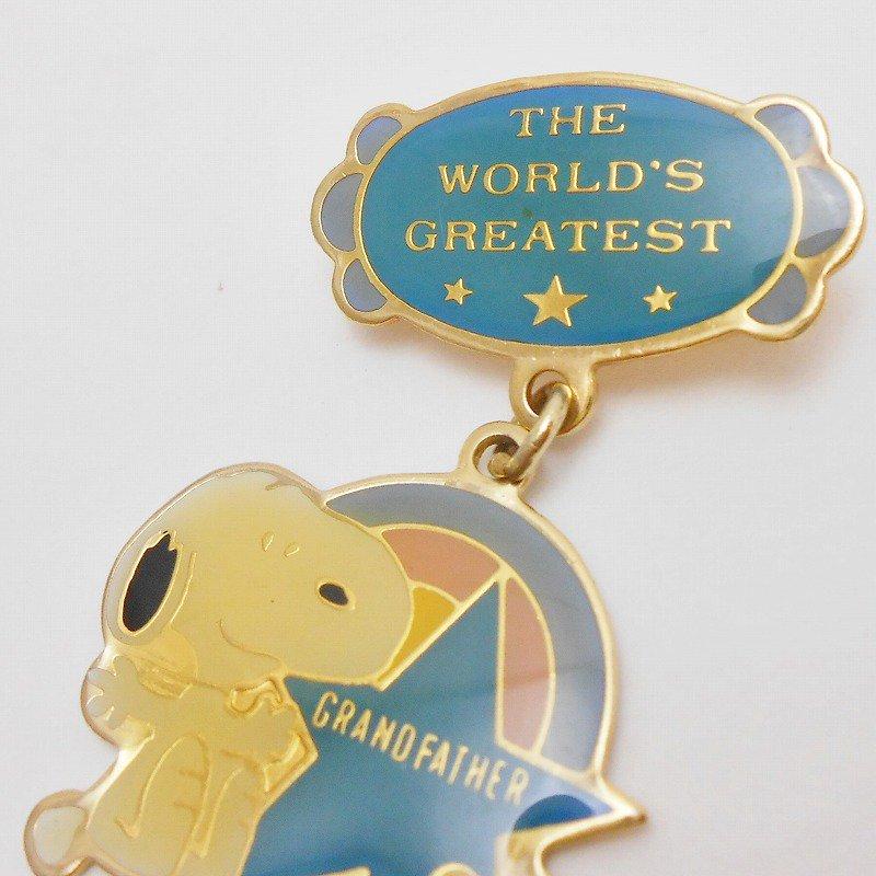ヴィンテージ・スヌーピー・The World Greatest Grandfather・チャーム付きピンズ【画像3】