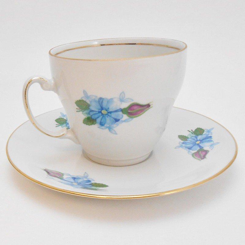 ポーランド製・青と紫のお花・カップ&ソーサー【A】【画像4】