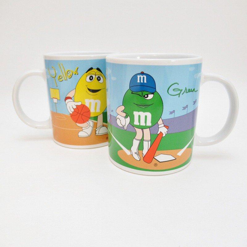 2002年・M&Ms・グリーン&イエロー・スポーツシリーズ・エムアンドエムズ・陶器製マグ