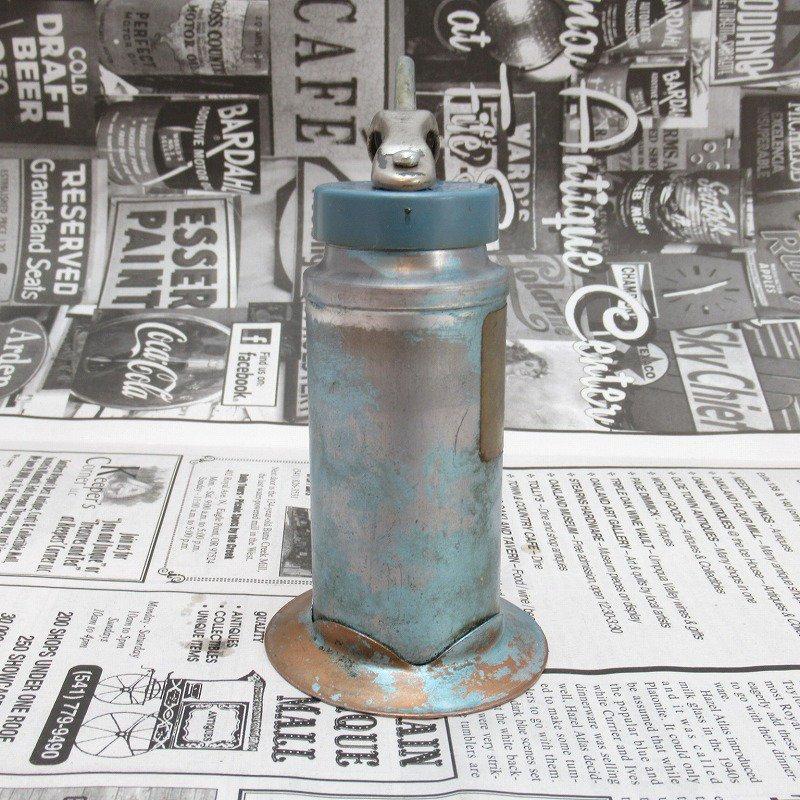 ヴィンテージ・ジャンク雑貨・メタル製・オイル差し・ハンドル付き・ブルーグリーン【画像2】