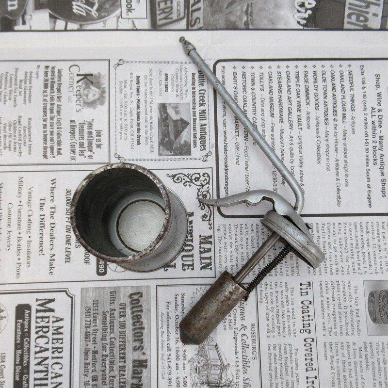 ヴィンテージ・ジャンク雑貨・メタル製・オイル差し・ハンドル付き・シルバー【画像13】