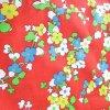 花柄 ヴィンテージファブリック・赤ベース・カラフルフラワー