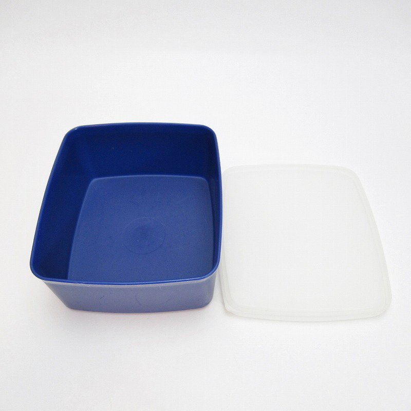 ビンテージ・Tupperware・タッパウェア・ネイビーブルー・長方形【画像7】