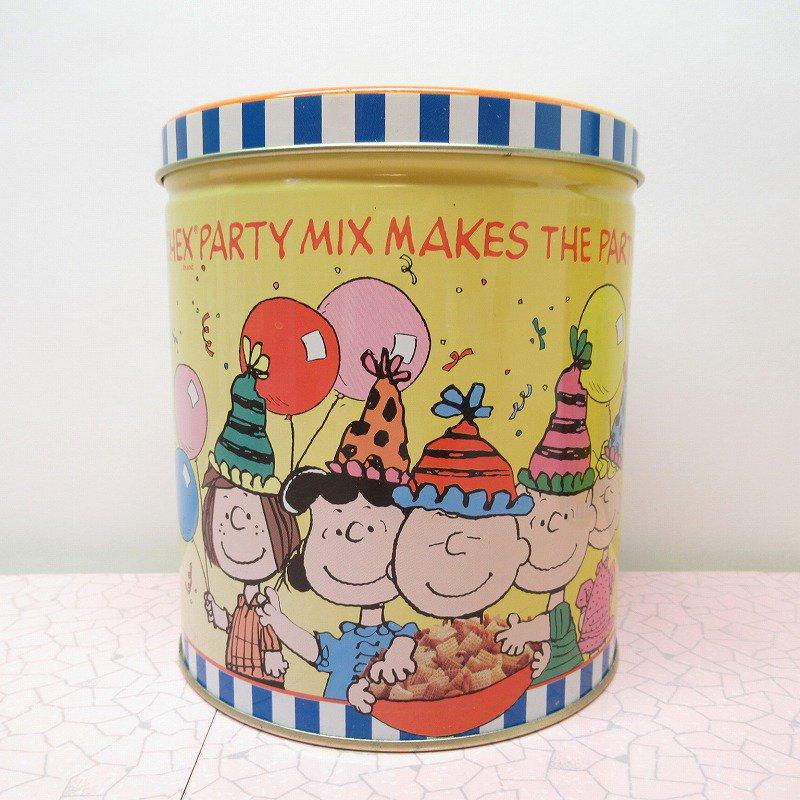 スヌーピーの仲間たちとパーティー Chex Party Mix Makes the Party! ティン缶 A
