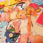 チケットなどの紙物  ヴィンテージ・1930年代〜50年代・ペーパードール&着せ替え洋服・61ピースセット