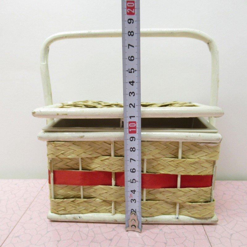 ヴィンテージ・ソーイングバスケット・白フレーム&レッドアクセント【画像11】