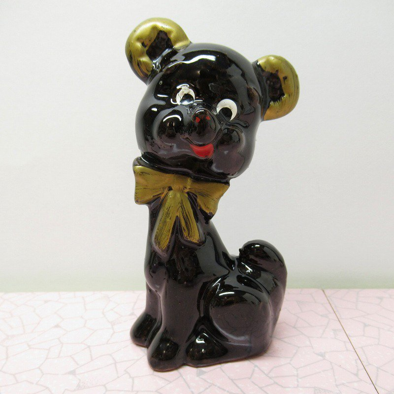 ヴィンテージ・米国輸出用日本製・陶器製・ゴールドリボン・テディベア