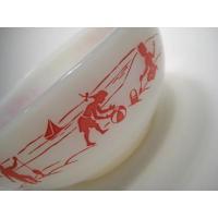 アメリカンミルクグラスブランド ファイヤーキング・プレーヤー・チリボウル・レッド