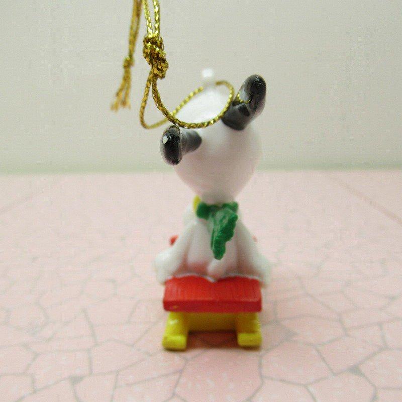 スヌーピー PVC ホイットマンズ クリスマス オーナメント 緑のマフラーとそり【画像5】