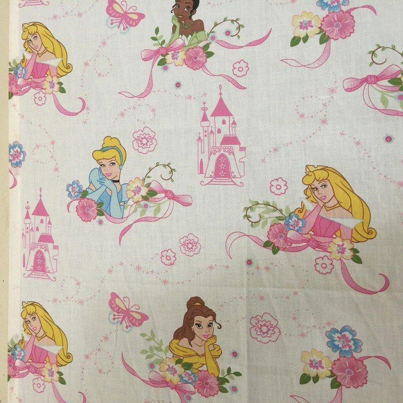 ヴィンテージシーツ ディズニー プリンセス ホワイトベース ピンクリボン フラット キッズ用【画像2】