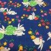 シーツ&ハンドメイド素材  ヴィンテージファブリック うさぎ と お花 と 苺