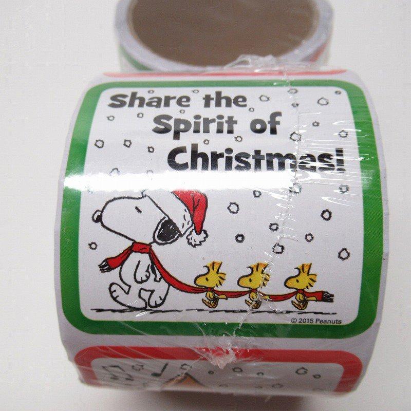 スヌーピー 日本未販売 クリスマス シール スクエア 5種 100枚セット  未使用【画像3】