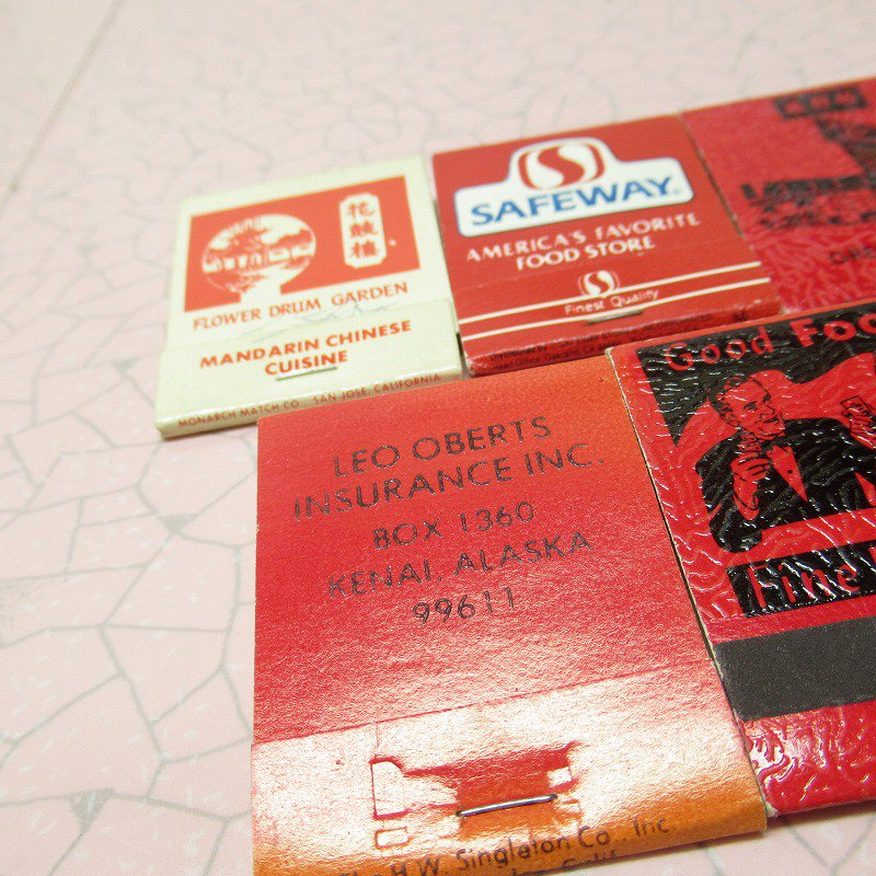 ヴィンテージマッチブック 5個セット 赤 C【画像4】