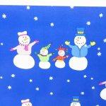 クリスマス ラッピングペーパー 青ベース 雪だるま