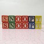 おままごと・お人形遊びアイテム・おもちゃ・ガラガラなど  木製 ウッドブロック SNOOPY