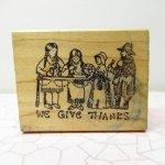 ハロウィン&サンクスギビング  サンクスギビング 木製スタンプ We give thanks