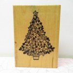 ゴム製  クリスマス 木製 スタンプ ツリー