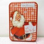 クリスマスやイースターなどの行事関連  クリスマス レトロ サンタクロース ティン缶