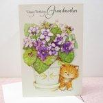 未使用  キャット & 菫 Happy Birthday Grandmother 未使用カード 封筒付き