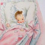 使用済  ヴィンテージカード 1954年 ベッドの中の赤ちゃん