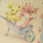 使用済  ヴィンテージカード A gift for baby 黄色のわんちゃん