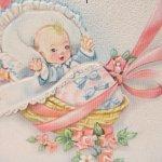 使用済  ヴィンテージカード Congratulations to you both ベイビーとピンクのリボン