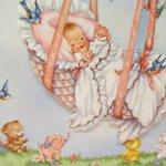 使用済  ヴィンテージカード Congratulations 赤ちゃんと森の小動物