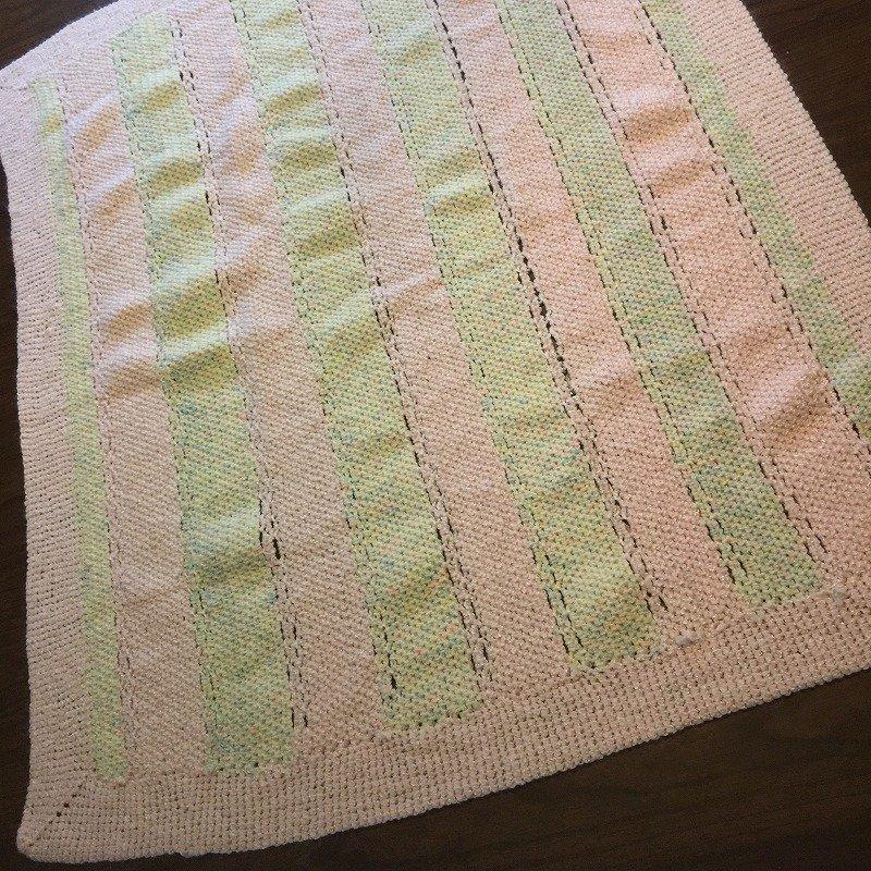ベビーブランケット パステルピンク&ペパーミントグリーンストライプ 毛布