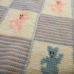 ベビーブランケット ピンクと水色のテディベア 毛布